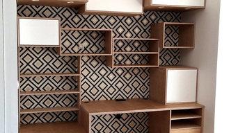 Bureau et caissons en bois de bouleau