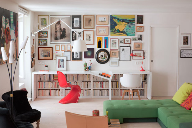 Contemporary Home Office & Library by Christophe Vendel
