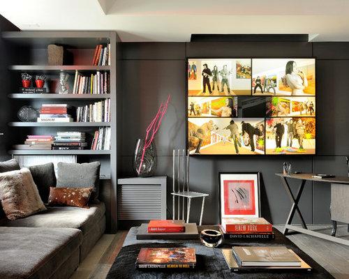 Bureau avec un sol en bois foncé et un mur noir photos et idées