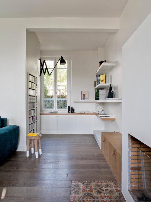 Moderne arbeitszimmer mit kamin ideen design bilder houzz for Arbeitszimmer wandfarbe