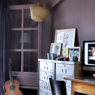 Inspiration for an eclectic study in Paris with purple walls, carpet and a freestanding desk.