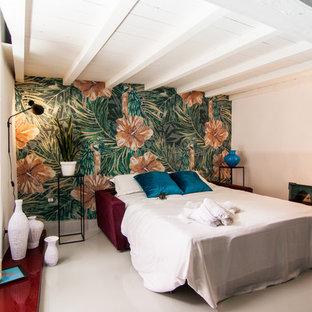 Esempio di una camera degli ospiti contemporanea con pareti blu e pavimento in gres porcellanato