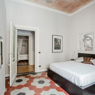 Camera da letto con pavimento con piastrelle in ceramica - Design ...