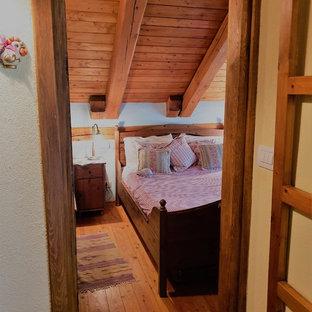 На фото: со средним бюджетом маленькие спальни в стиле рустика с желтыми стенами, светлым паркетным полом, печью-буржуйкой, фасадом камина из металла и коричневым полом