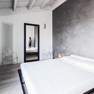 Esempio di una camera matrimoniale minimal di medie dimensioni con parquet chiaro, pareti grigie e nessun camino