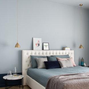Esempio di una camera matrimoniale contemporanea con pareti blu, nessun camino e parquet chiaro