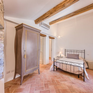 Photo of a traditional guest bedroom in Other with white walls and terra-cotta floors.