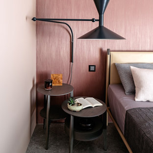 Contemporary bedroom in Other with pink walls and wallpaper.