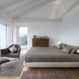 Immagine di una camera da letto contemporanea con pareti bianche, pavimento in legno massello medio e pavimento marrone