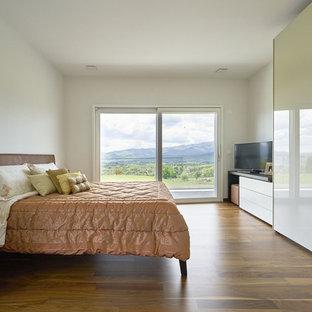 Ispirazione per una camera matrimoniale contemporanea con pareti bianche, pavimento in legno massello medio e pavimento marrone