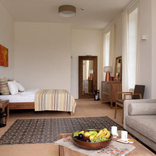 Modelo de dormitorio principal, mediterráneo, extra grande, con paredes blancas y suelo de baldosas de terracota