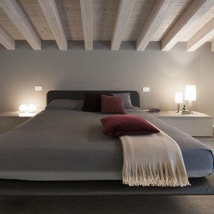 Ispirazione per una camera matrimoniale moderna di medie dimensioni con pareti grigie, parquet scuro, nessun camino e pavimento marrone