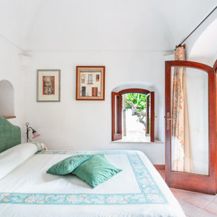 Example of a small classic master terra-cotta tile, brown floor and vaulted ceiling bedroom design in Naples with white walls