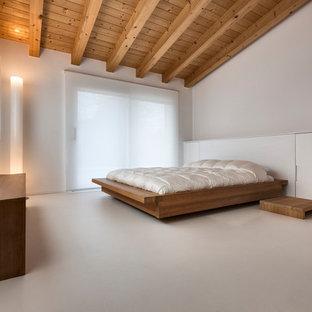 Immagine di una grande camera matrimoniale minimalista con pareti bianche, nessun camino e pavimento grigio