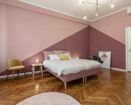 Parete Camera Da Letto Rosa : Camera da letto di medie dimensioni con pareti rosa foto e idee