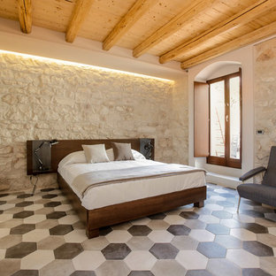 Example Of A Mid Sized Country Master Ceramic Floor Bedroom Design In  Catania Palermo