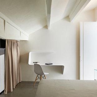 Esempio di una camera degli ospiti design con pareti bianche e nessun camino