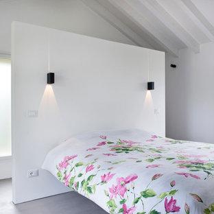 Ispirazione per una camera matrimoniale contemporanea con pareti bianche