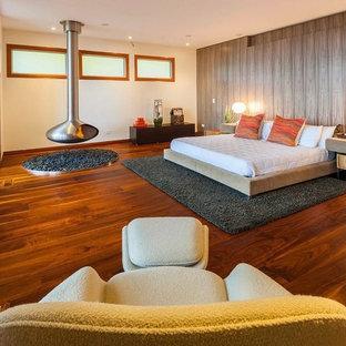 Modelo de dormitorio contemporáneo, extra grande, con chimenea lineal y marco de chimenea de metal