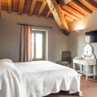 Design ideas for a country master bedroom in Other with grey walls and terra-cotta floors.