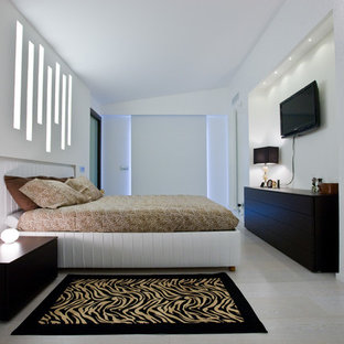 Bedroom - large contemporary master light wood floor bedroom idea in Other with white walls