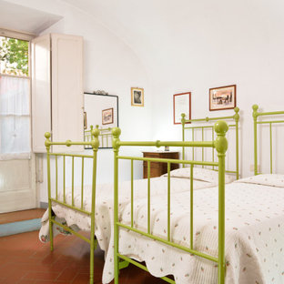 Small traditional guest bedroom in Florence with white walls, terra-cotta floors, orange floor and vaulted.