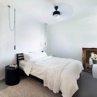 Ispirazione per una grande camera degli ospiti industriale con pareti bianche, pavimento in gres porcellanato e pavimento grigio