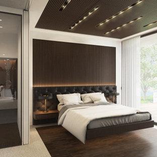 Réalisation d'une petit chambre parentale design en bois avec un mur blanc, un sol en carrelage de porcelaine, un sol gris et un plafond décaissé.