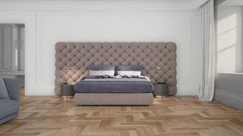 Parquet a spina italiana in camera da letto, villa privata