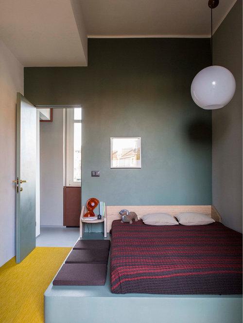 Camera da letto moderna con pareti verdi - Foto e Idee per Arredare