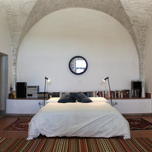 Inspiration for a mid-sized contemporary loft-style bedroom in Other with white walls, terra-cotta floors and red floor.