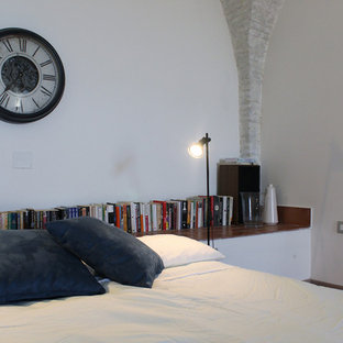 Inspiration for a mid-sized contemporary loft-style terra-cotta floor and red floor bedroom remodel in Other with white walls