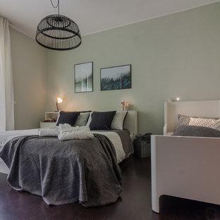 Huge danish master dark wood floor and brown floor bedroom photo in Other with green walls