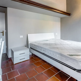 Example of a small trendy guest ceramic floor and red floor bedroom design in Bologna with gray walls