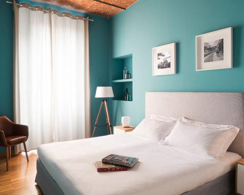 Camera da letto con pareti blu - Foto e Idee per Arredare