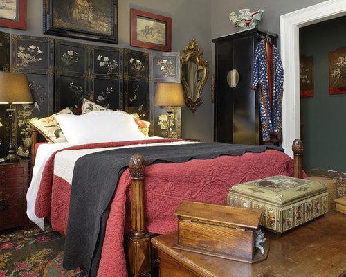 Camera da letto etnica con pareti grigie - Foto e Idee per Arredare