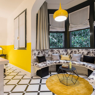Inspiration for a huge eclectic master ceramic floor and multicolored floor bedroom remodel in Milan with yellow walls