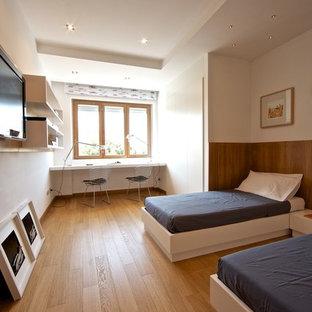Ispirazione per una camera da letto design di medie dimensioni con pareti bianche e parquet chiaro