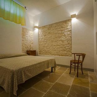 Imagen de habitación de invitados campestre, de tamaño medio, con paredes blancas, suelo de piedra caliza y suelo gris