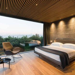 Ispirazione per una camera da letto minimalista con pareti grigie, pavimento in legno massello medio e pavimento marrone