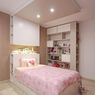 Foto de dormitorio infantil moderno, grande, con paredes multicolor, suelo de baldosas de cerámica y suelo rosa