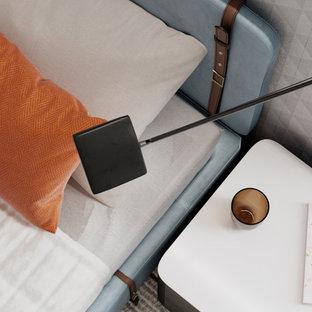 Exempel på ett eklektiskt pojkrum kombinerat med sovrum, med mörkt trägolv