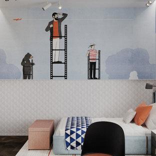 Ispirazione per una cameretta per bambini scandinava con parquet scuro e boiserie