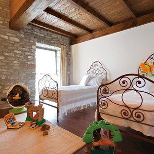 Esempio di una grande cameretta per bambini da 4 a 10 anni rustica con pareti bianche, parquet scuro e pavimento marrone
