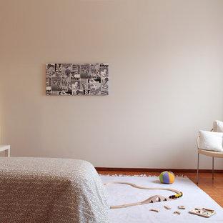 Inspiration pour une chambre d'enfant design avec un sol en carreau de terre cuite.