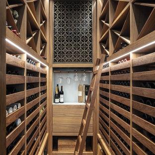 Esempio di una cantina contemporanea di medie dimensioni con pavimento in legno massello medio, rastrelliere portabottiglie e pavimento marrone