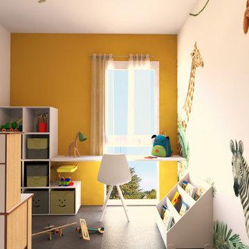 chambre d'enfant bureau et rangement semi-sur mesure