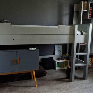 Idéer för funkis pojkrum, med linoleumgolv och grått golv