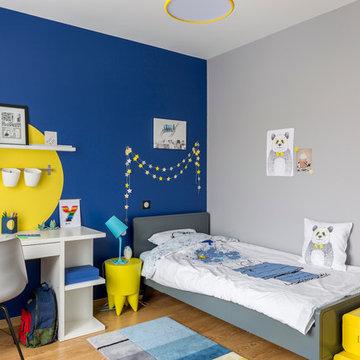 Chambre de garçon bleue et jaune
