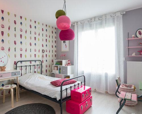 Chambre de fille avec un mur multicolore : Photos et idées déco de ...